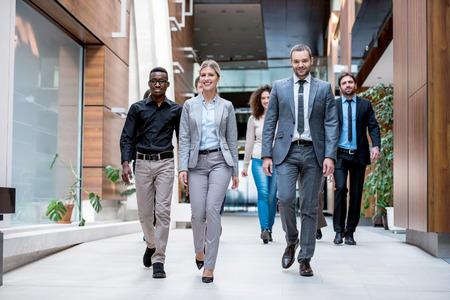 business people walking meditation